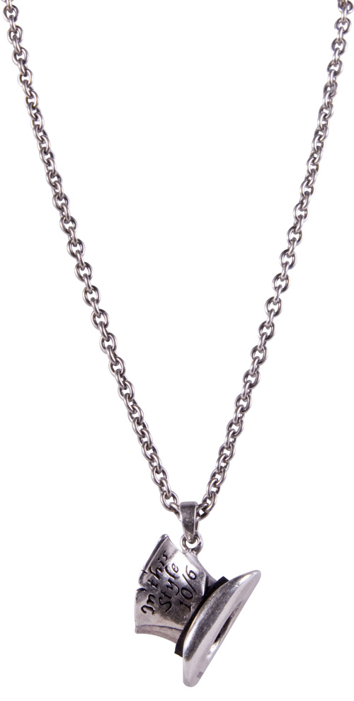 Silver Plated Mad Hatter Top Hat Necklace from