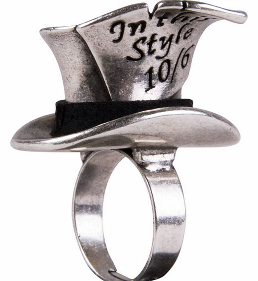 Silver Plated Mad Hatter Top Hat Ring from