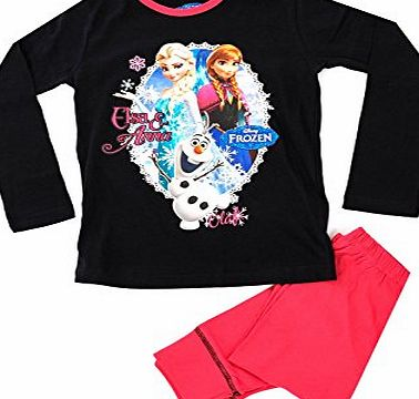 Kids Girls Official Disney Frozen Queen Elsa Anna Pyjamas Childrens 2 Piece Set Pjs Long Sleeves 100% Cotton Black/Pink Size 4-5 Years
