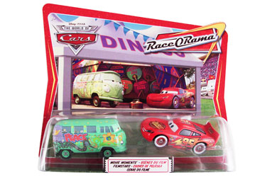 Pixar Cars - Diecast Movie Moments - Fillmore and Whitewalls Lightning McQueen