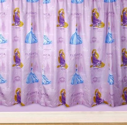 Disney Princess Character World 72-inch Disney Princess Sparkle Curtains, Multi-Color