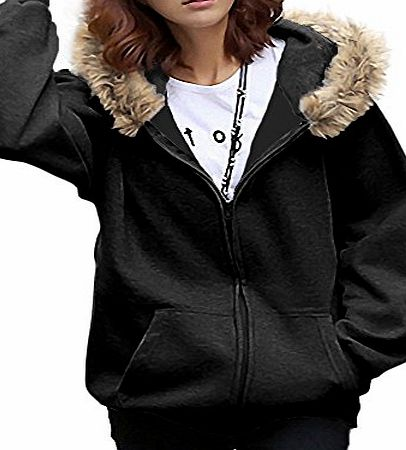 DJT Women Batwing Fur Hoody Warm Winter Coat Zip Hood Hoodie Cardigan Parka Overcoat Jacket Grey Size M