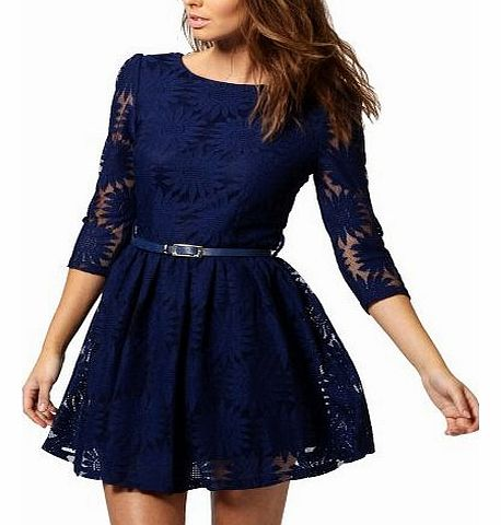 Womens Ladies Elegant Floral Lace Cocktail Party Prom Formal Evening Blue Dress Size M 8 10