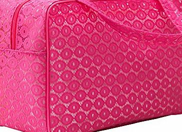 Dobess Portable Lace Design Travel Luggage Handbag Clothes Organizer Storage Carry Bag for Women ( Large : 13.4 x 5.9 x 10.2 Inches ) - Hot Pink