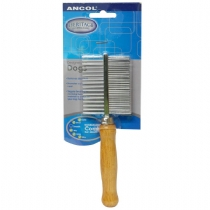 Ancol Double Sided Wood Handle Comb Single