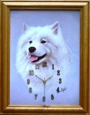 Dog Samoyed clock