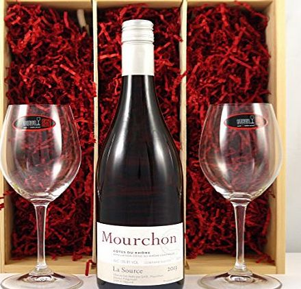 Domaine de Mourchons Côtes-du-Rhône Villages La Source 2013 Domaine de Mourchons Vintage White Wine with two Riedel Crystal Wine Glasses presented in a wooden box