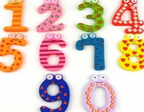 Domire Funky Fun Colorful Magnetic Numbers Wooden Fridge Magnets Kids Educational toys