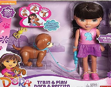 Dora Friends Fisher-Price Nickelodeon Dora Friends Toy - Dora 12 Inch Doll and Perrito Puppy - Train and Play