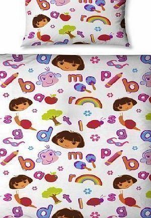 Dora the Explorer  ALPHABET JUNIOR TODDLER COT BED DUVET SET QUILT COVER BEDDING