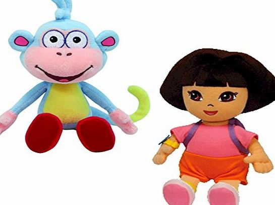 Dora the Explorer Ty Beanie Baby - Dora the Explorer and her Monkey Boots Plush Pair of Cuddly Collectable Toys