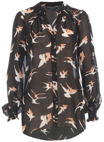 Black bird print blouse