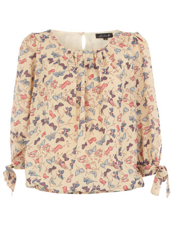 Cream butterfly print blouse DP01000137