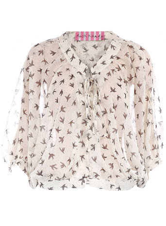 Cream chiffon bird blouse DP12198181