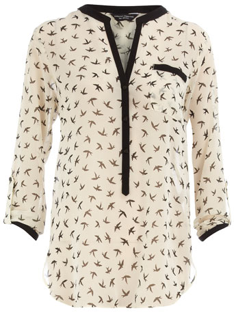 Ivory bird print blouse DP05239483