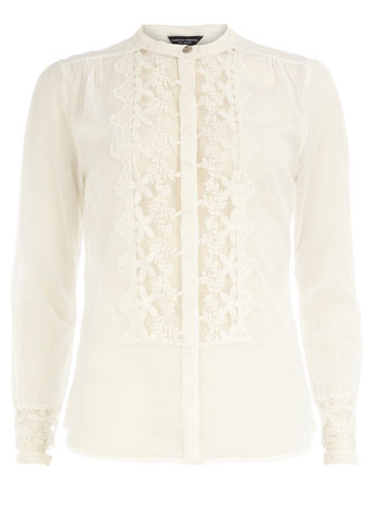 Ivory lace insert blouse DP67158582