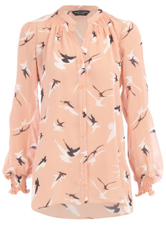 Peach bird print blouse