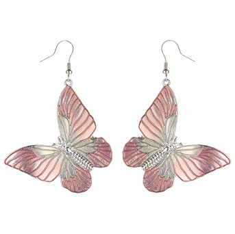 Peach butterfly drop earrings