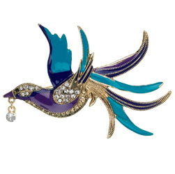 Purple and teal bird brooch