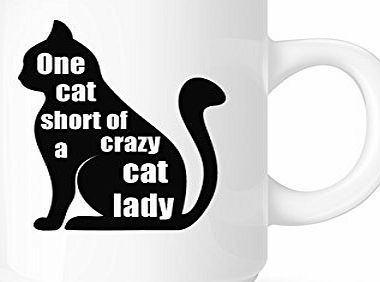 DottsMusic One Cat Short Of A Crazy Cat Lady - Fun Pet-Lovers Novelty Tea/Coffee Mug/Cup - Great Gift Idea