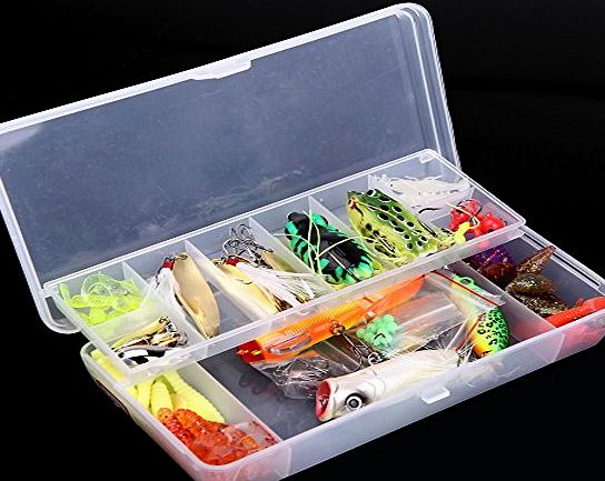 douself Lixada 105Pcs Artificial Fishing Lure Set Hard Soft Bait Minnow Spoon Two-layer Fishing Tackle Box