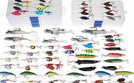 Dr.Fish Fishing Lure Job Lot 60 Trout Perch Spinners Pike Spoons Soft Plastic Lure Shad Crankbaits in 5 Fishing Tackle Boxes
