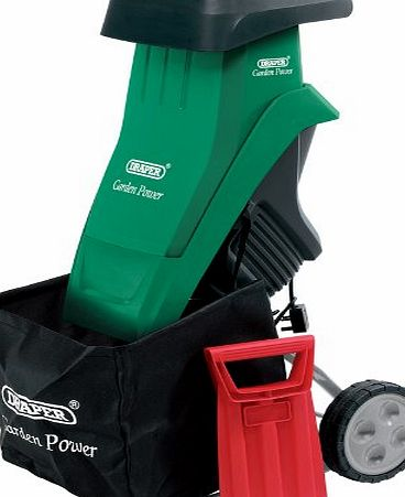 Draper 2400W 230V GARDEN SHREDDER - Features:, Twin blade cutting device, Sturdy portable design, supplied with wheels and transport handle, Reversible blade, Emergency stop brake and restarting protection,