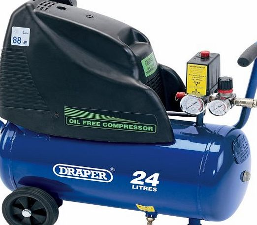 Draper 24978 24-Litre 230V 1.1kW Oil-Free Air Compressor