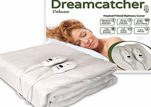 Dreamcatcher Double Luxury Polyester Heated Electric Under Blanket with LED Detachable Dual Controllers, Machine Washable amp; 3 Comfort Settings, Size 137 x 190cm