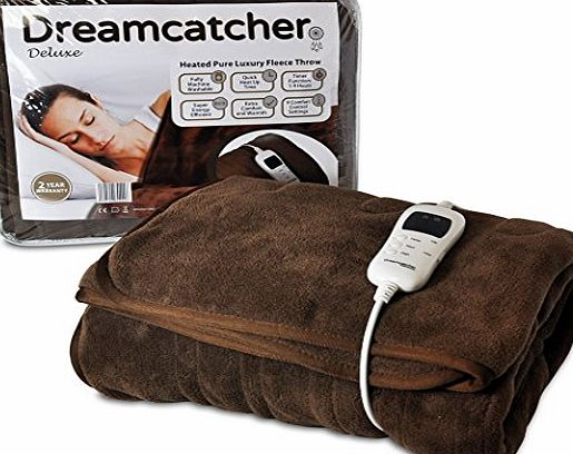 Dreamcatcher Luxury Fleece Heated Washable Electric Blanket Throw, Chocolate Brown, Large Overblanket 160 x 120cm, Timer, 9 Control Settings