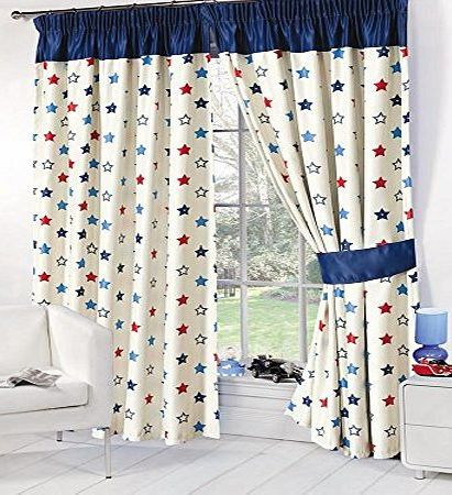 Dreamscene Stars Childrens Kids Supersoft Thermal Blue Stars Blackout Curtains (53 Wide x 54 Drop) by Dreamscene