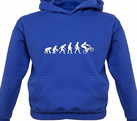 Dressdown Evolution of Man BMX Rider - Childrens / Kids Hoodie - Royal Blue - XXL (12-13 Years)
