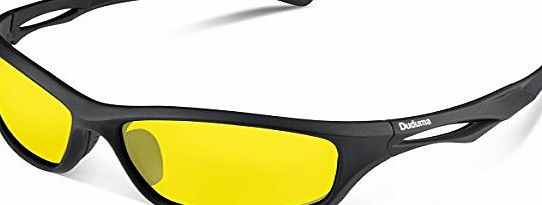 Duduma Polarised Sports Mens Sunglasses for Ski Driving Golf Running Cycling Tr90 Superlight Frame Design for Mens and Womens (black frame with black lens)