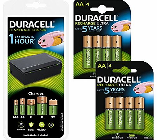 Multi-Battery Charger & 8 AA 2400mAh Rechargeable Batteries