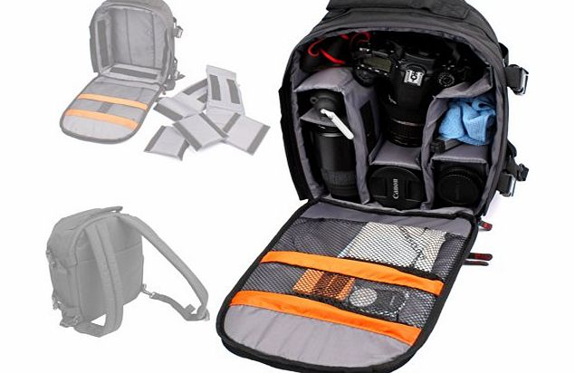 LARGE Black Rucksack digital SLR camera case / bag / Compatible with Larger SONY and Olympus E Models