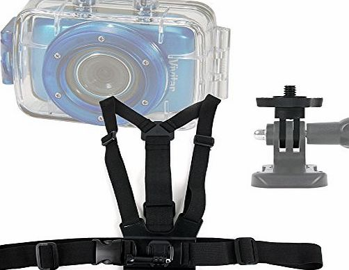 DURAGADGET Premium Quality Vivitar Action Camera Chest Harness Mount - Fully Adjustable Chest Harness Mount With Quick Release-Buckle For NEW Vivitar DVR785HD-BLU 5MP Pro Waterproof Action Camcorder