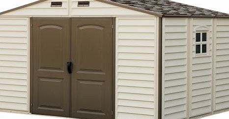 Duramax Woodside 10 x 8 Vinyl Storage shed with Foundation and three fixed window