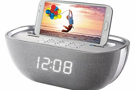 ACB17/SR Bluetooth Radio Alarm Clock Speaker with USB Phone Charger Socket - Silver
