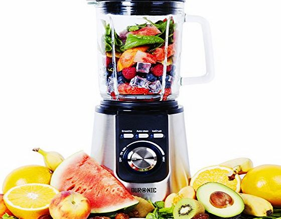 Duronic BL1200 - Stainless Steel Body Table Blender - 1.8L Glass Jug. Pre Programmed for: Smoothies, Ice Crusher and Auto Clean - Powerful 1200W Motor