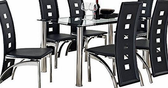 Dymio CRAZY SALE : Glass Square Dining Room Table Set and 6 Chairs Faux Leather Furniture : black