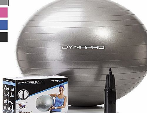 DynaPro Direct NEW-DynaPro Direct Exercise Ball With Pump Gym Quality Fitness Ball Aka Yoga Ball Swiss Ball 65 Centimeters Silver