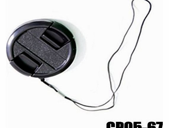 CP05 67mm Snap-On Centre Pinch Cord Front Lens Cap for Canon, Nikon, Pentax, Olympus, Samsung, Sony, Panasonic, Fujifilm Camera Tamron Sigma
