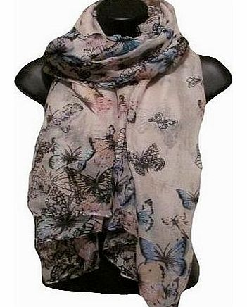 Designer Inspired Butterfly Print Scarf Cream Brown Taupe Celebrity Butterflies Scarves, Shawl