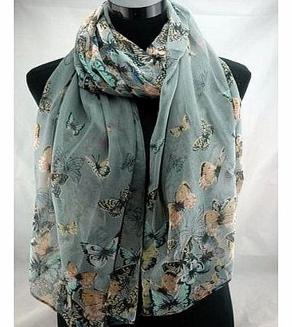 Designer Inspired Butterfly Print Scarf Grey Blue Celebrity Butterflies Scarves, Shawl