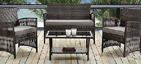 E-Bargains Madrid 4 Piece Rattan Weatherproof Garden Patio Furniture Conservatory Sofa Cushion Chair Table Set Contemporary Outdoor Living Garden Conservatory Patio Summer Innovative Comfort