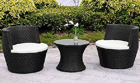 E-Bargains Verona 3 Piece Rattan Garden Patio Furniture Vase Dining Eating Picnic Table Set amp; 2 Chair Stackable Neat Tidy Beautiful Contemporary Outdoor Living Garden Conservatory Patio Summer Sunny Innovati