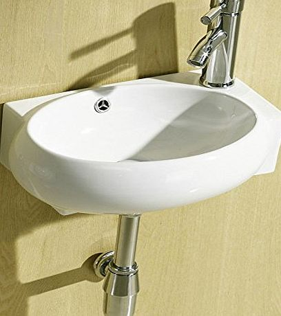 E-PLUMB Small Compact Cloakroom Basin Bathroom Sink Round Offset Square Rectangle Corner Right Hand Wall Hung 430 X 280