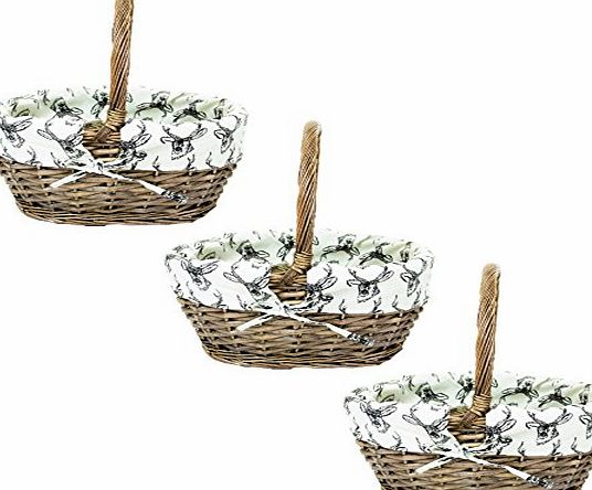 east2eden Antique Brown Willow Wicker Traditional Shopping Easter Basket with Stag Liner in Choice of Sizes amp; Deals (Set of 3 Small)