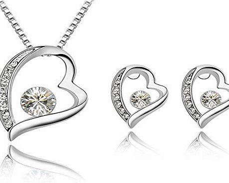 Ebuy Fashion Womens Jewellery Crystal Diamond Heart Pendant Necklace and Earrings Stud 18K White Gold Plated (White)