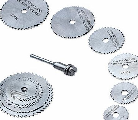 edealing New 7pc HSS Circular Wood Cutting Saw Blade Discs for Dremel Rotary Tool Mandrel